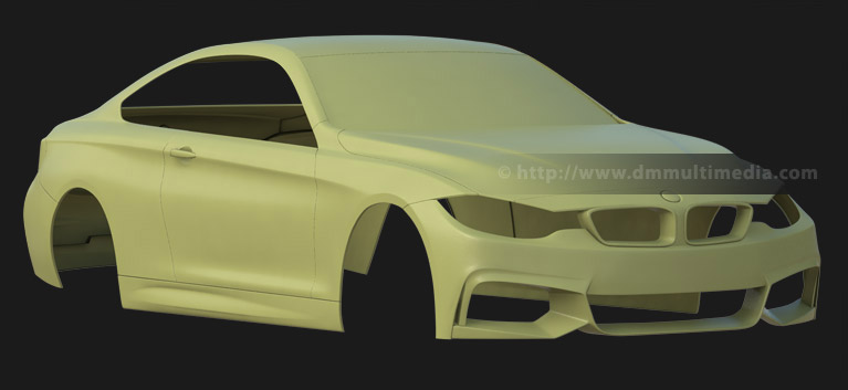 BMW F32 4 Series Coupe - clay render front view