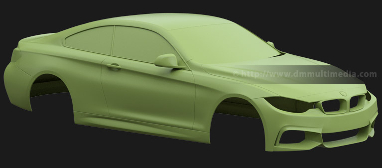 BMW F32 4 Series Coupe - clay render with windows and door mirrors