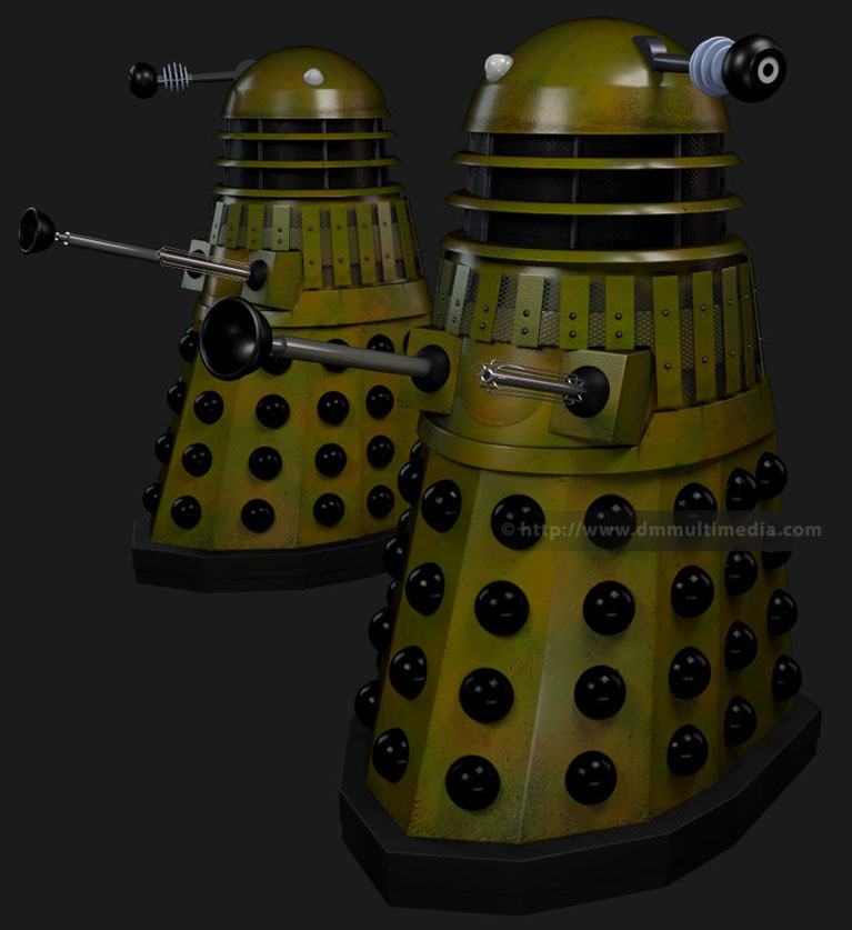 Genesis Daleks in camouflage colour scheme