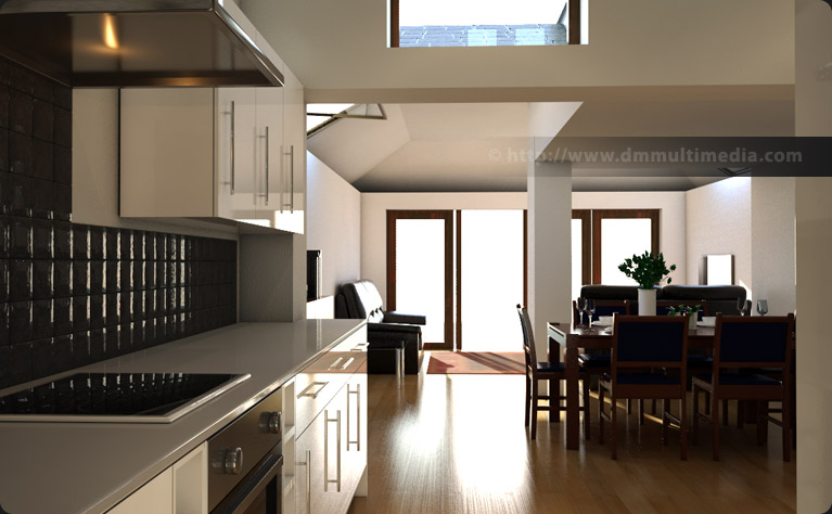 Interior view of the Edwardian House proposed extension exploring kitchen design and natural lighting at 9am