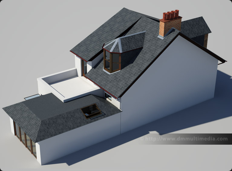 Over-head rear view of the Edwardian House with proposed extension