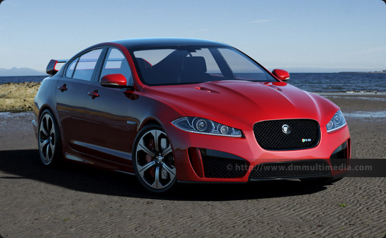 Jaguar XFR-S in Red, on the Beach