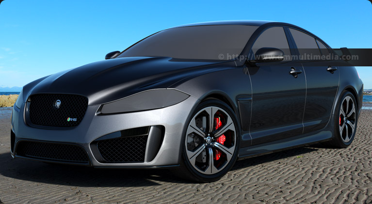 Early render with colour of the Jaguar, using modelled XFRS Alloy wheels