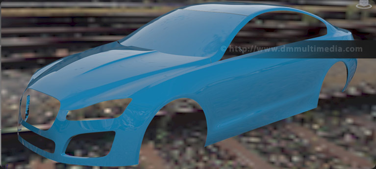 Continuing the build up of polygons to create the body of the Jaguar XFR-S