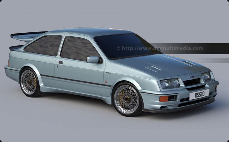 Ford Sierra Cosworth RS500 - creating racing BBS whels and refining the modelling in Moonstone Blue paint