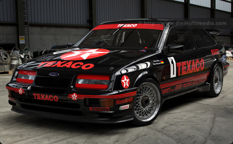 The Ford Sierra Cosworth RS500 in iconic Eggenberger Works colours with Texaco logos - front 3/4s view