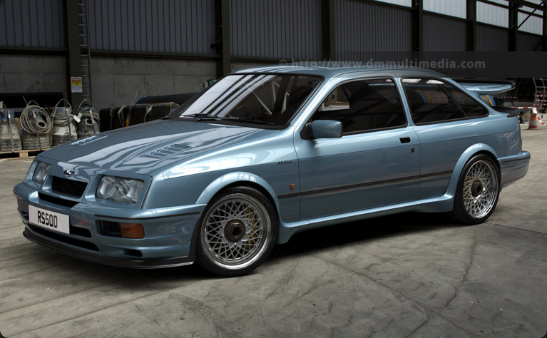 The Ford Sierra Cosworth RS500 in Moonstone Blue in road-going trim