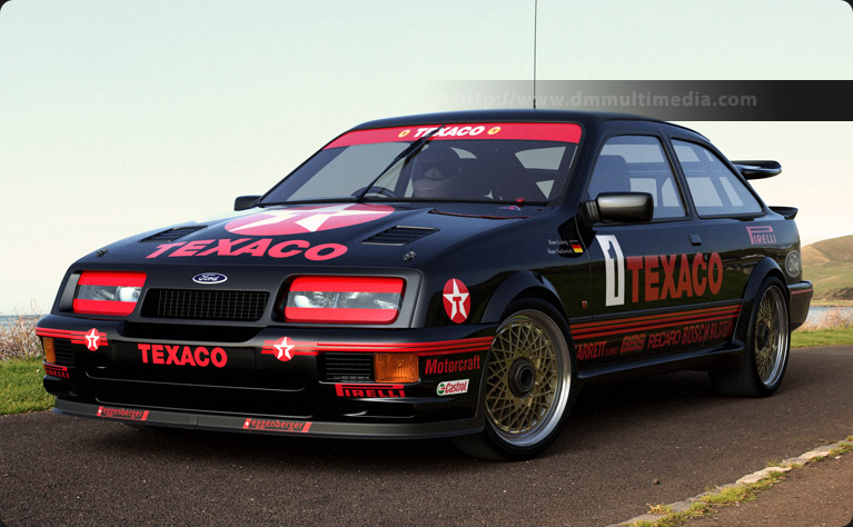The Ford Sierra Cosworth RS500 Works racer at the coast