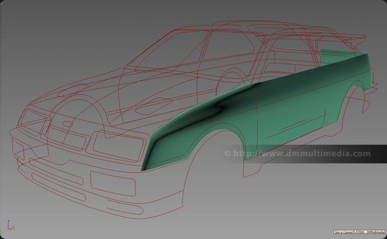 Ford Sierra Cosworth RS500 - Uisng the spline cage as a guide while modelling main body