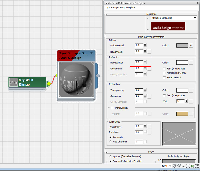create a default Arch & Design material and set the reflectivity to 0.0.