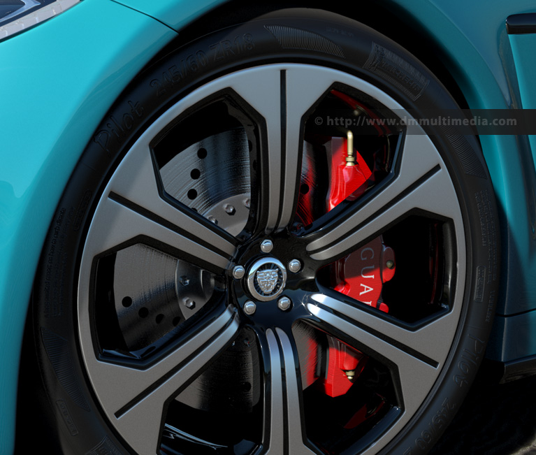 Using the above Tyre Sidewall Bump Bitmap gives this render using Mental Ray.