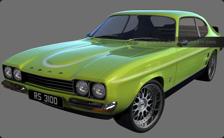 Capri MK1 RS in Lime Green, with white stripes