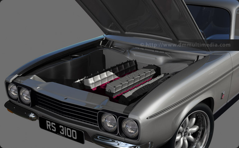 Capri MK1 RS - early creation of the details in the engine bay