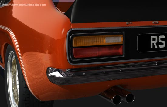 Close-up of the tail lights, double exhausts and spoiler