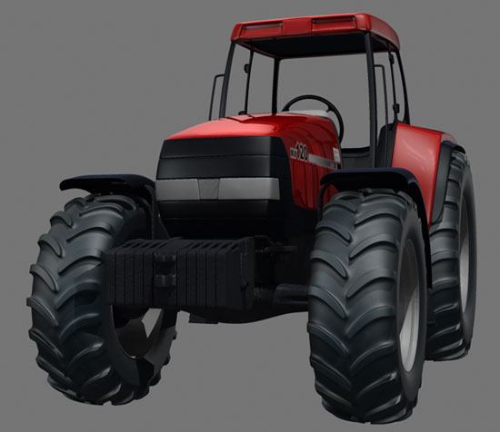 Low front view of the Case MX120 Maxxum Tractor