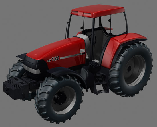 Higher view of the Case MX120 Maxxum Tractor