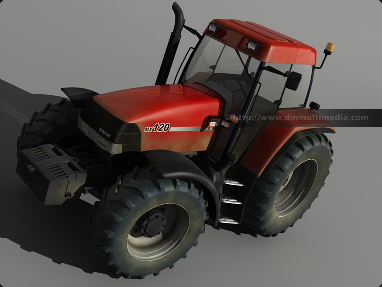 Case MX120 Maxxum Tractor 3D model high view