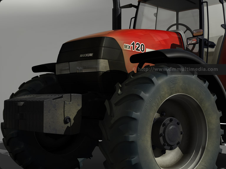 Case MX120 Maxxum Tractor 3D model close-up