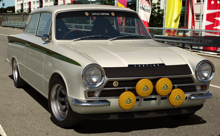 Lotus Cortina in the sun, front view white with green Lotus stripe