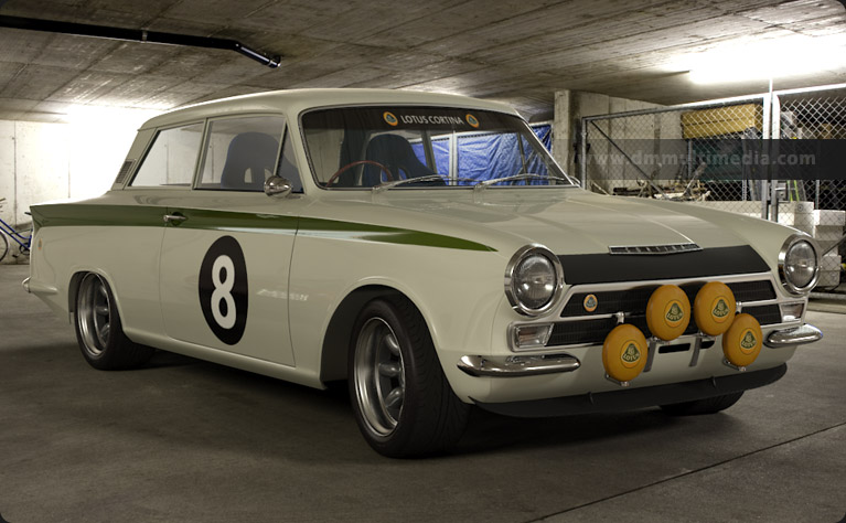 Lotus Cortina in White with Lotus Green stripes out tio play in the snow