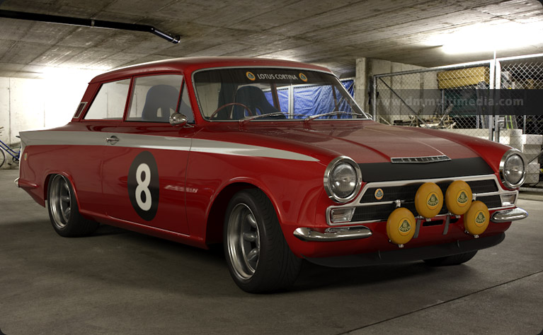 Cherry Red Lotus Cortina on Minilites in the Garage