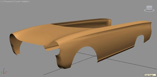 Initial stage in creating the bodyshell