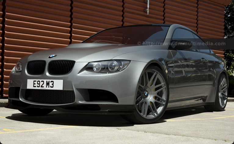 BMW E92 M3 at the office - low angle