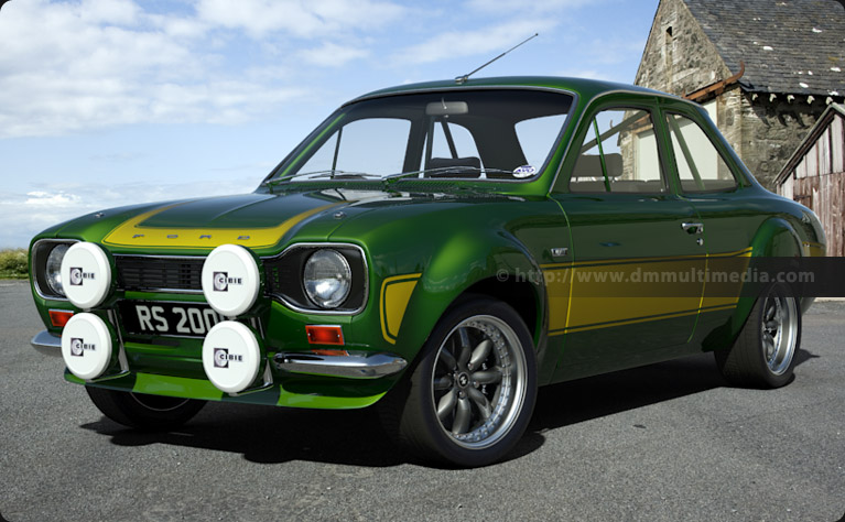 Escort MK1 RS2000 in Jaguar Racing Green and Yellow stripes