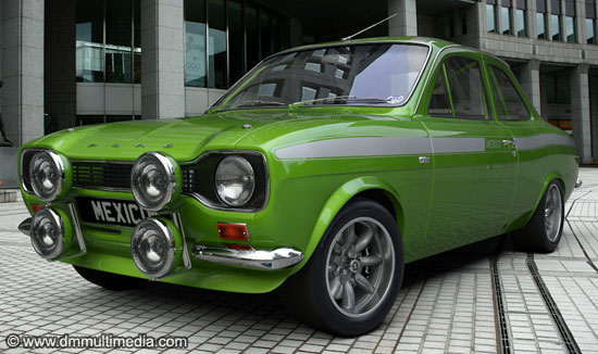 Escort MK1 Mexico in Le-mans green with contrasting white mexico stripes
