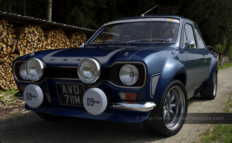 Escort MK1 RS2000 in Performance Blue on a Swiss woodland track