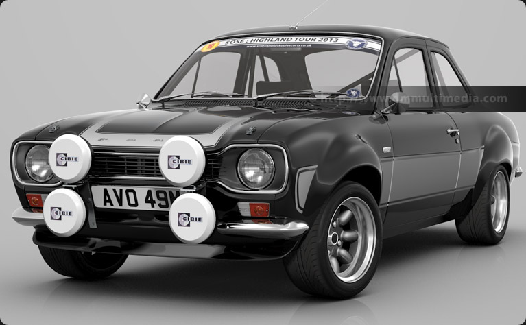 Escort MK1 RS2000 in Black with Light Grey Stripes, Highland Tour Sunstrip