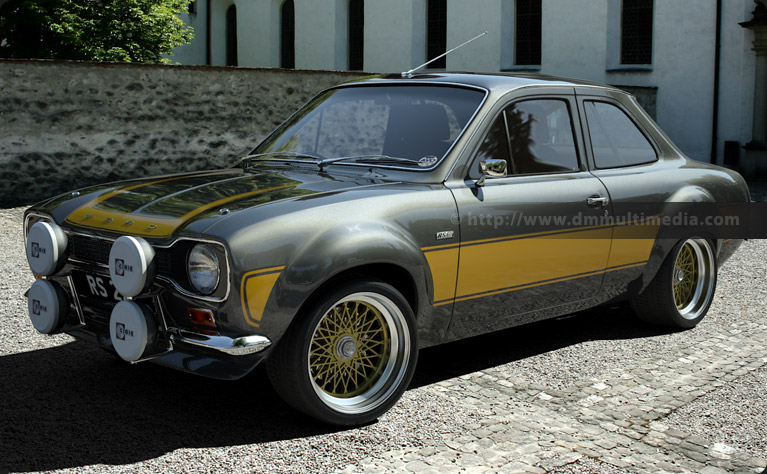 Big wing Escort MK1 RS2000 in Dark Silver with Yellow Stripes, massive BBS Split Rims