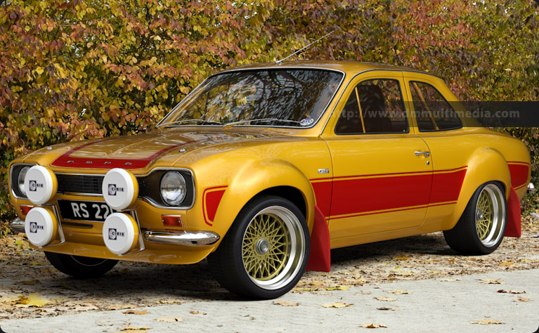 Escort MK1 Big Wing in Yellow with Dark Red Stripes