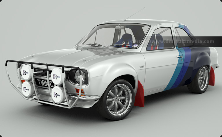 Escort MK1 Bigwing in White, with classic Ford Rally Blue stripes