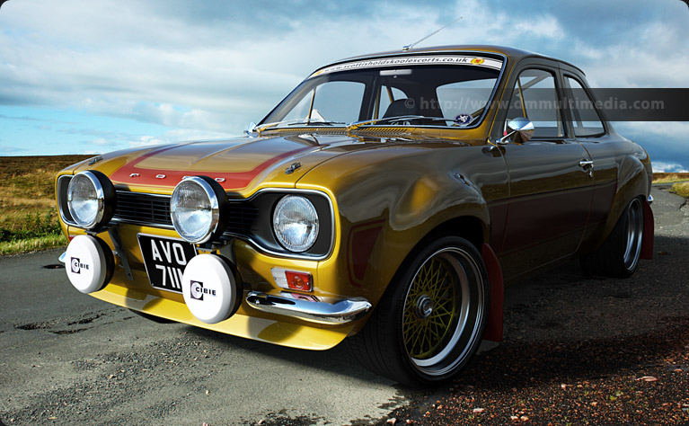 Escort MK1 RS2000 Bigwing in Yellow with orange stripes up on the moors