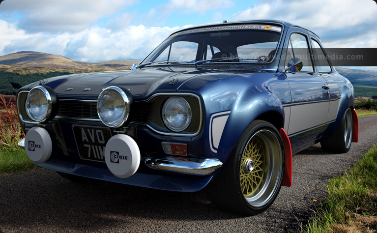 Escort MK1 RS2000 in Performance Blue and grey stripes, in the Carrick Forest, Scotland