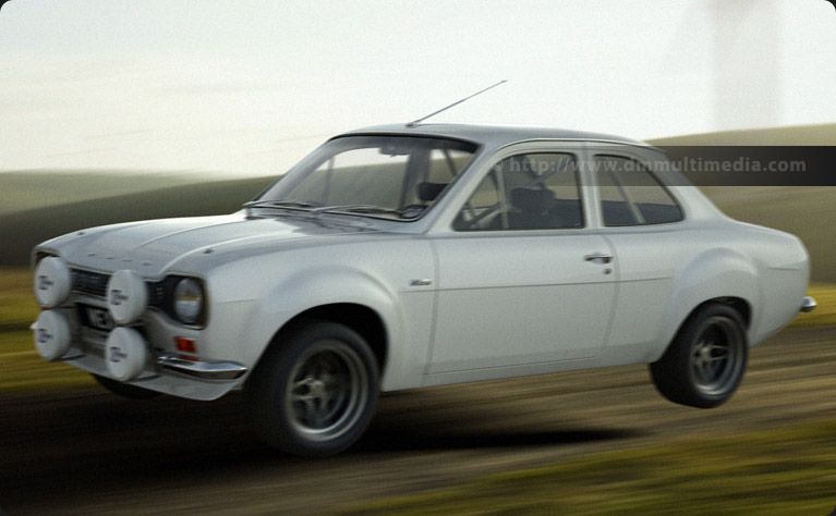 Big wing Escort MK1 RS2000 in plain White Rally Spec, in full flight (minus driver !)
