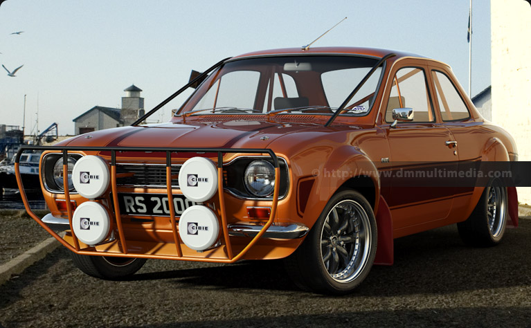 MK1 Escort RS2000 by the seaside, Bright Orange with Dark Red contrasting Stripes