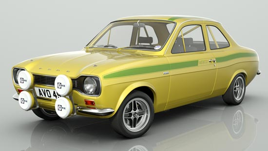 Escort MK1 Mexico in Daytona Yellow with Le Mans Stripes
