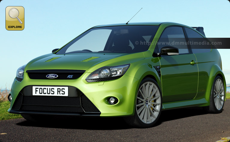 Ford Focus MK2 in ultimate green by the coast