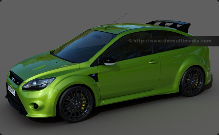 Ford Focus MK2 RS in Ultimate Green in a studio setup