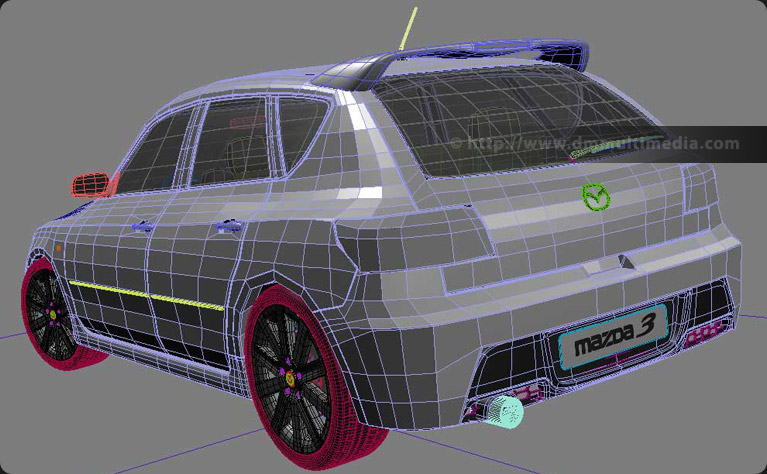 Mazdaspeed 3 computer model - polygon view