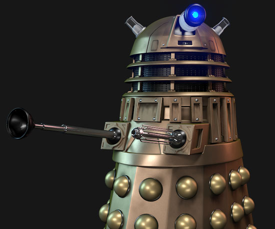 Dalek with Brass like texture using mental ray Arch & Design