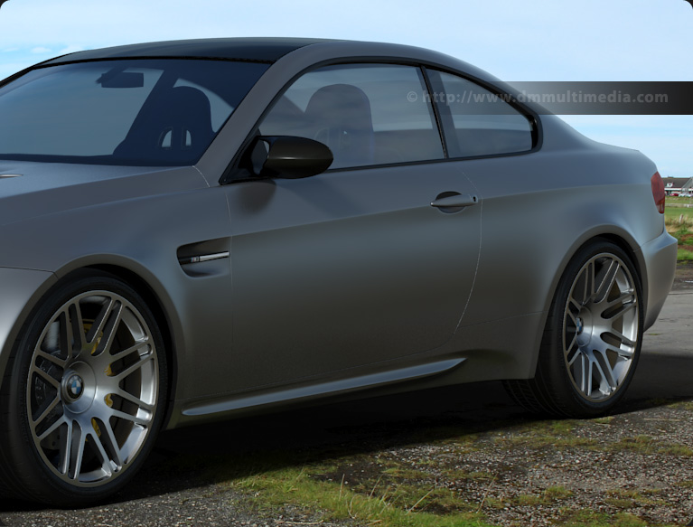 Arch & Design : Base layer Matte finish (like BMW Frozen Silver) in an environment, rear view