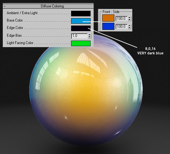 Mental Ray Car Paint Diffuse colour settings