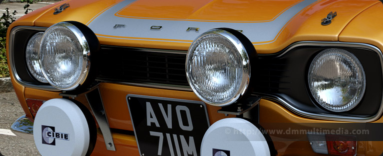 Car Headlight Textures as above rendered in a sunny environment