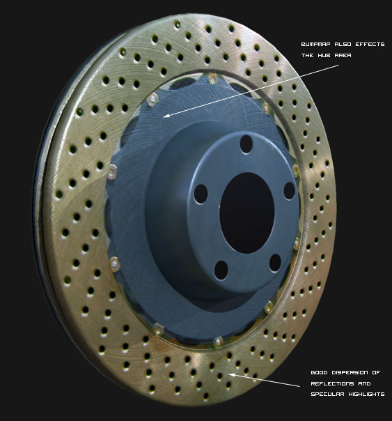 Mental Ray Brake Disc texture with Bump Map