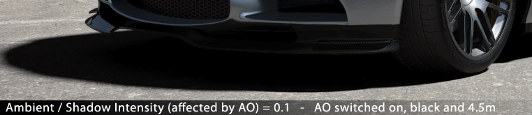 Matte/Shadow/Reflection Material - Ambient / Shadow Intensity (affected by AO) = 0.1