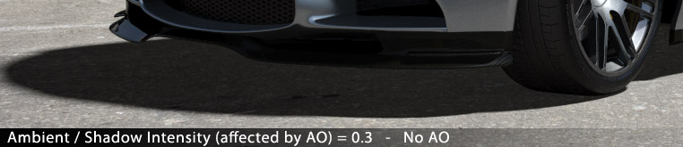 Matte/Shadow/Reflection Material - Ambient / Shadow Intensity (affected by AO) = 0.3 - No AO (switched off)