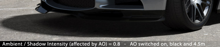 Matte/Shadow/Reflection Material - Ambient / Shadow Intensity (affected by AO) = 0.8